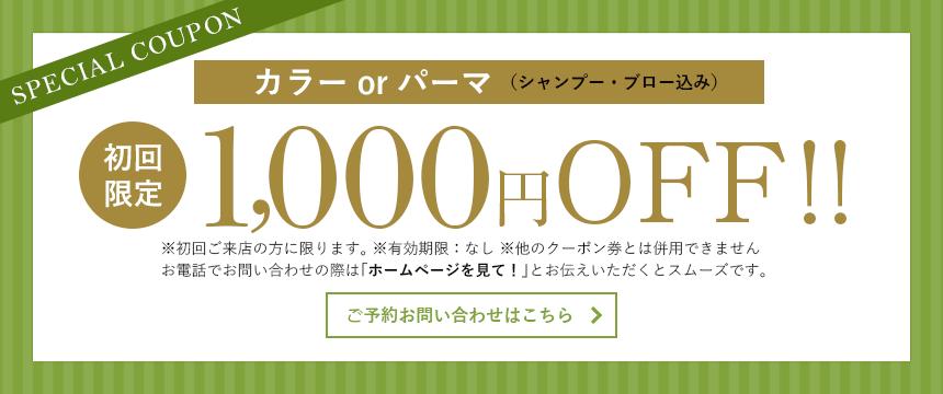 カラーorパーマ(シャンプー・ブロー込み)初回限定1000円OFF!!